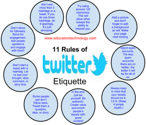 Originally post on http://www.educatorstechnology.com/2013/02/11-great-twitter-etiquettes-teachers.html